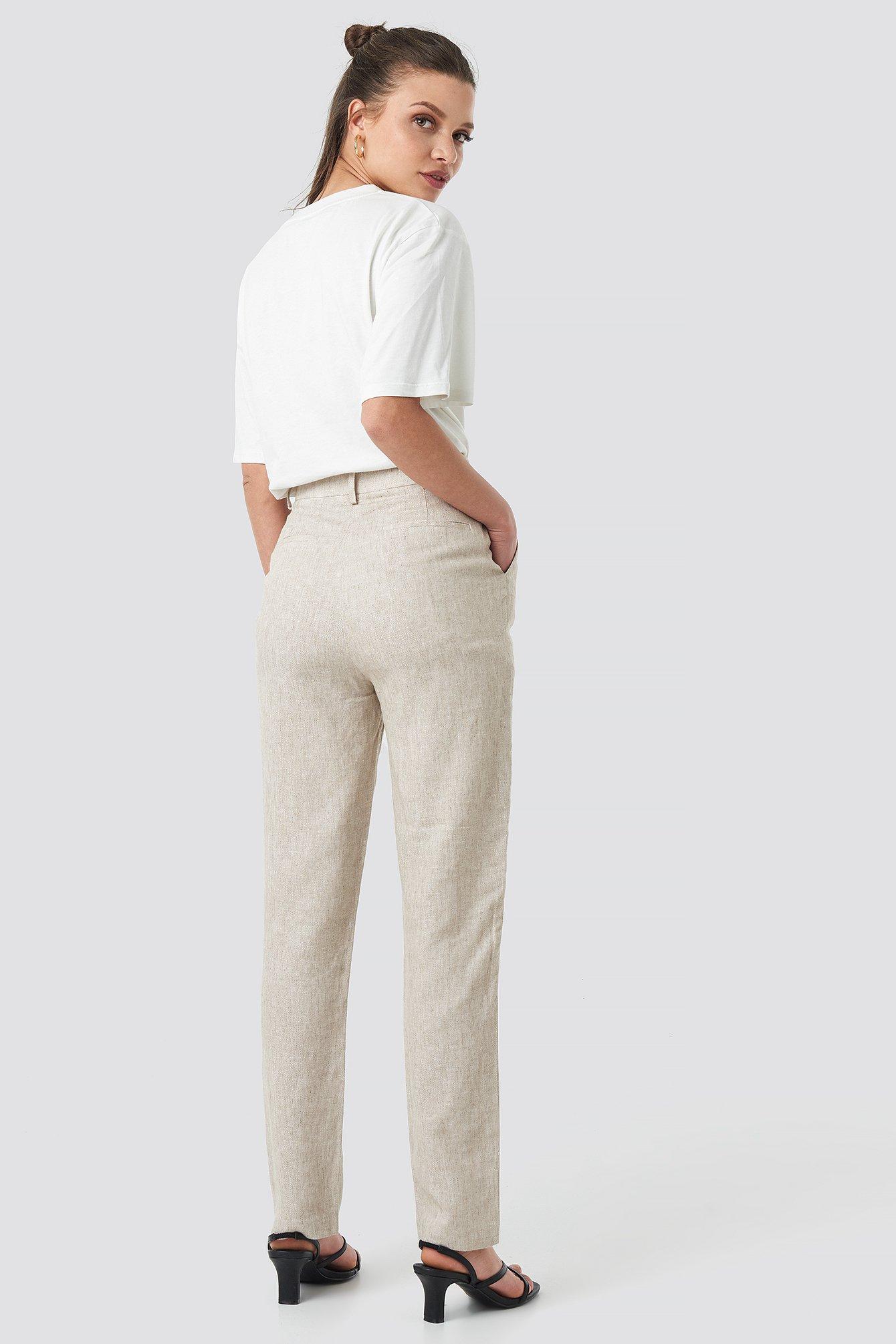 Linen Blend Cigarette Pants NA-KD.COM