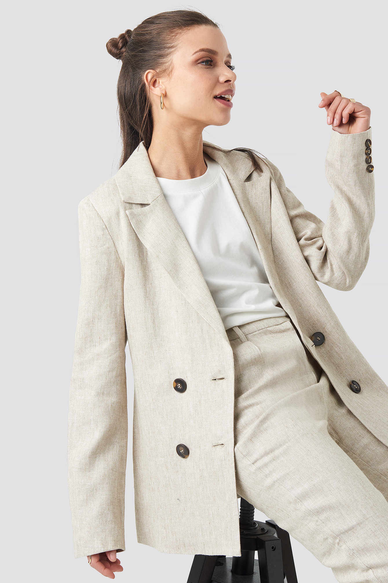 na-kd classic -  Linen Blend Double Breasted Blazer - Beige