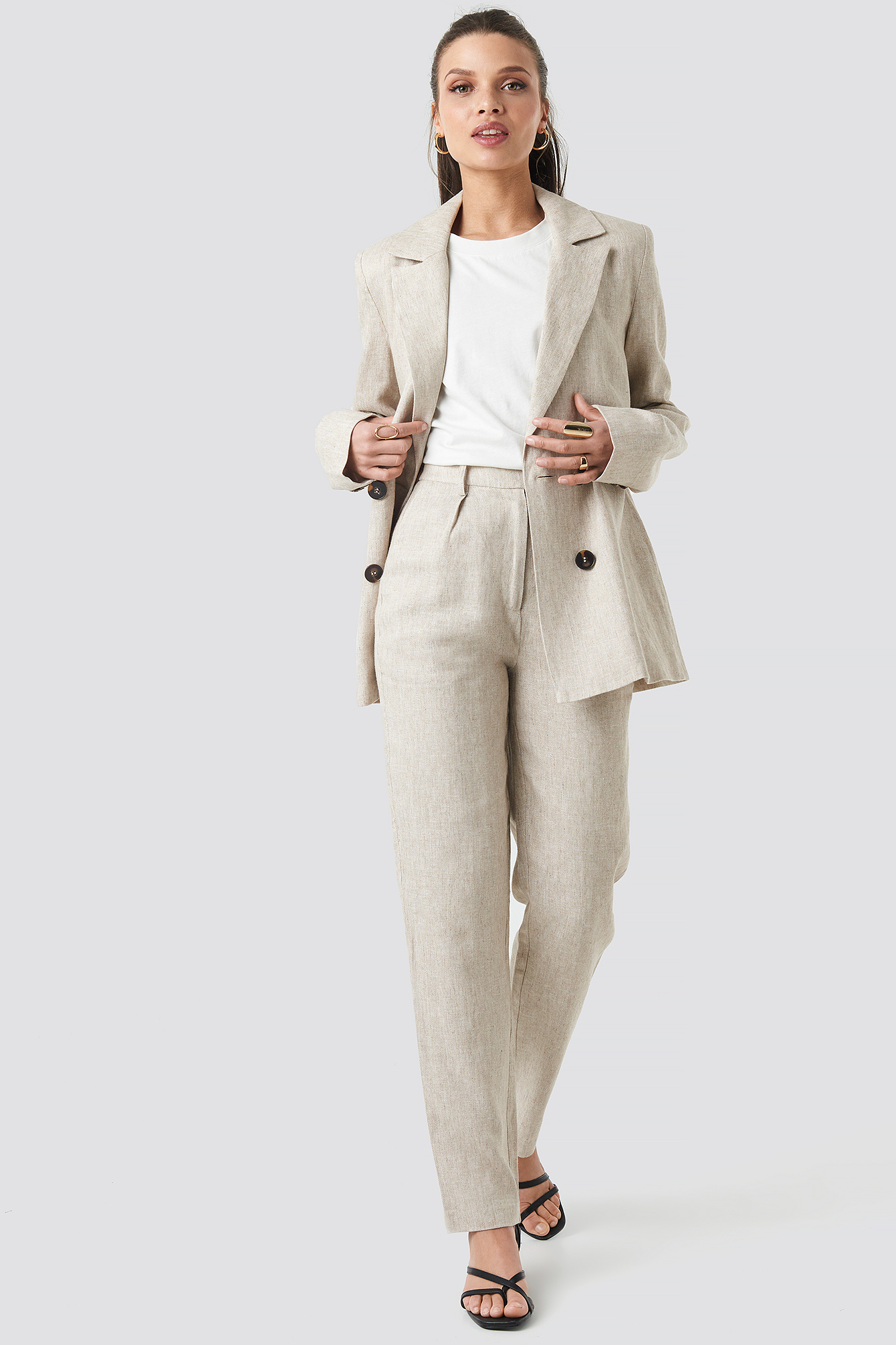 Linen Blend Double Breasted Blazer NA-KD.COM