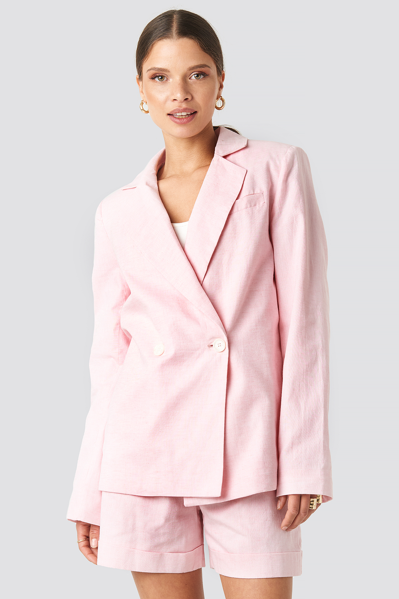 na-kd classic -  Linen Blend Loose Fitted Blazer - Pink