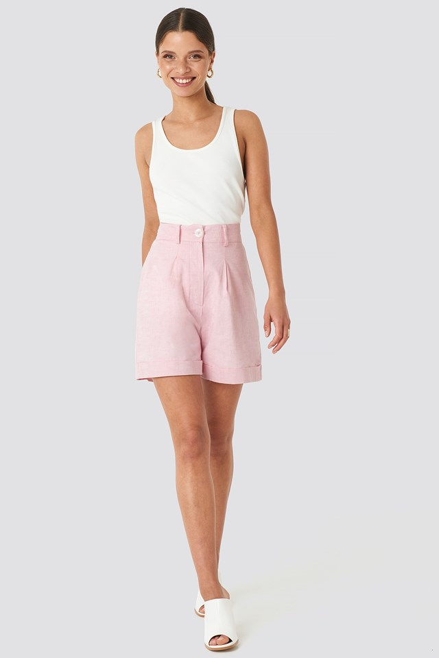 Linen Blend Shorts Light Pink