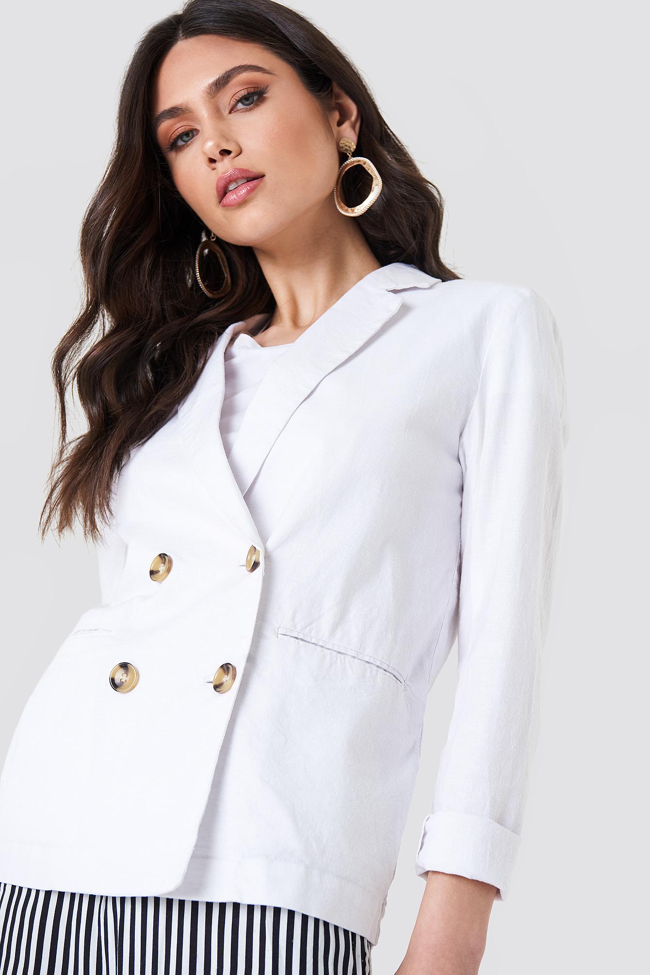 na-kd classic -  Linen Look Blazer - White