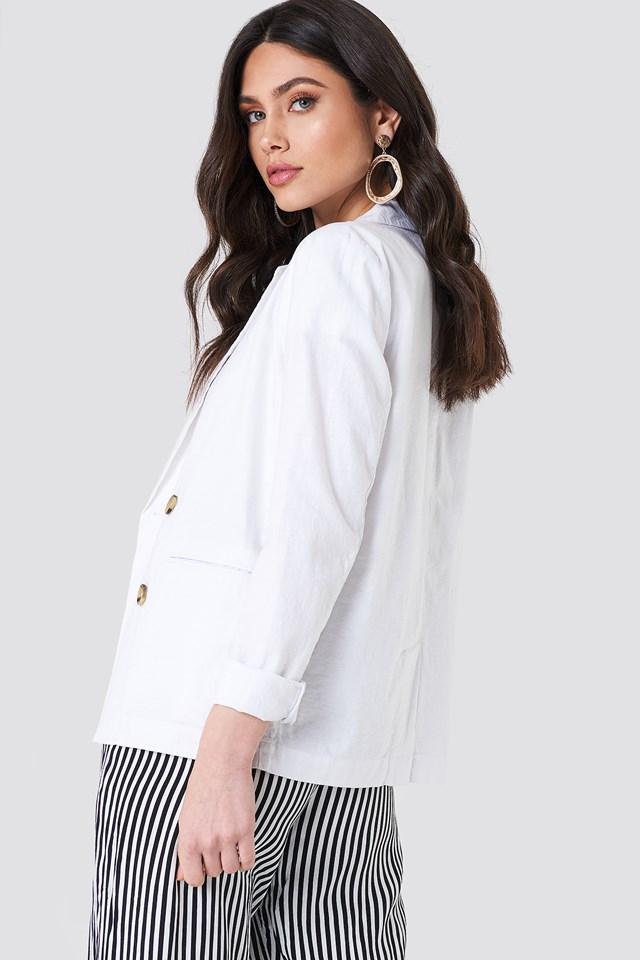 Linen Look Blazer White