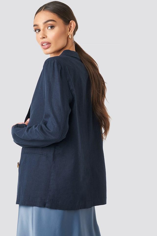 Linen Look Blazer Dark Blue