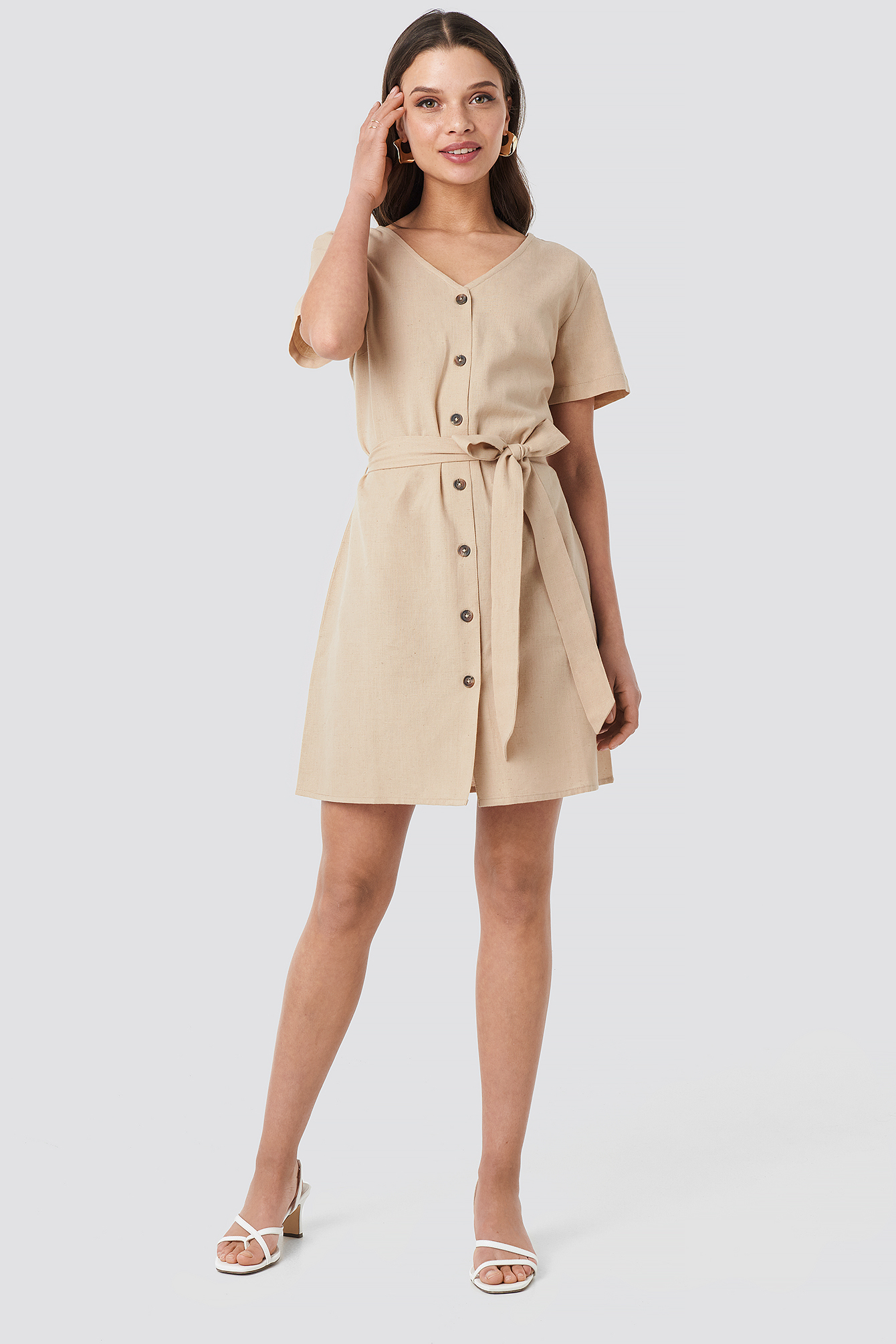 Linen Look Buttoned Dress NA-KD.COM