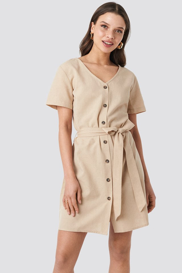 Linen Look Buttoned Dress NA-KD.COM