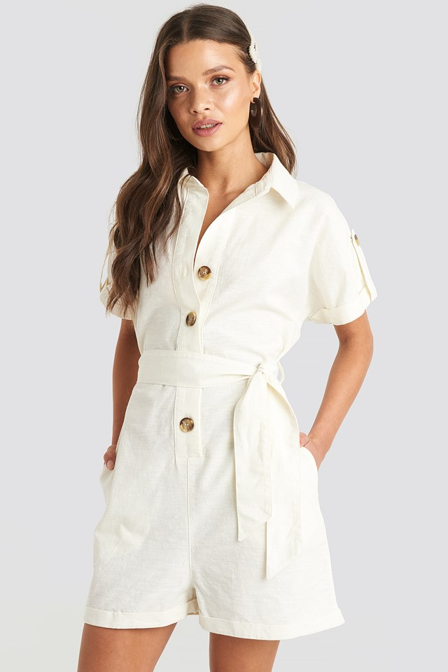 Linen Look Buttoned Playsuit Offwhite