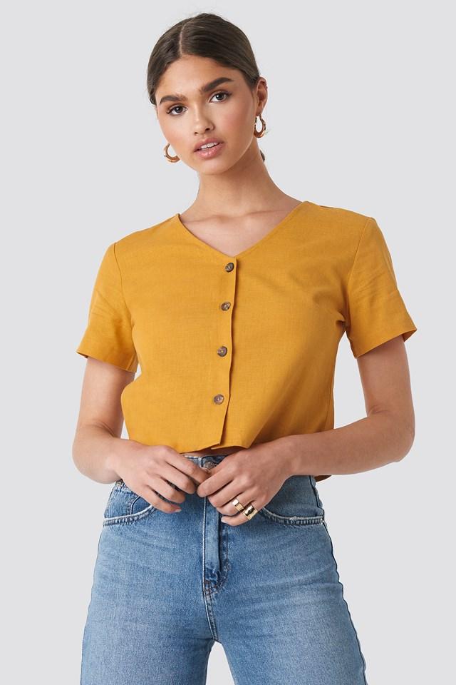 Linen Look Buttoned Top Mustard