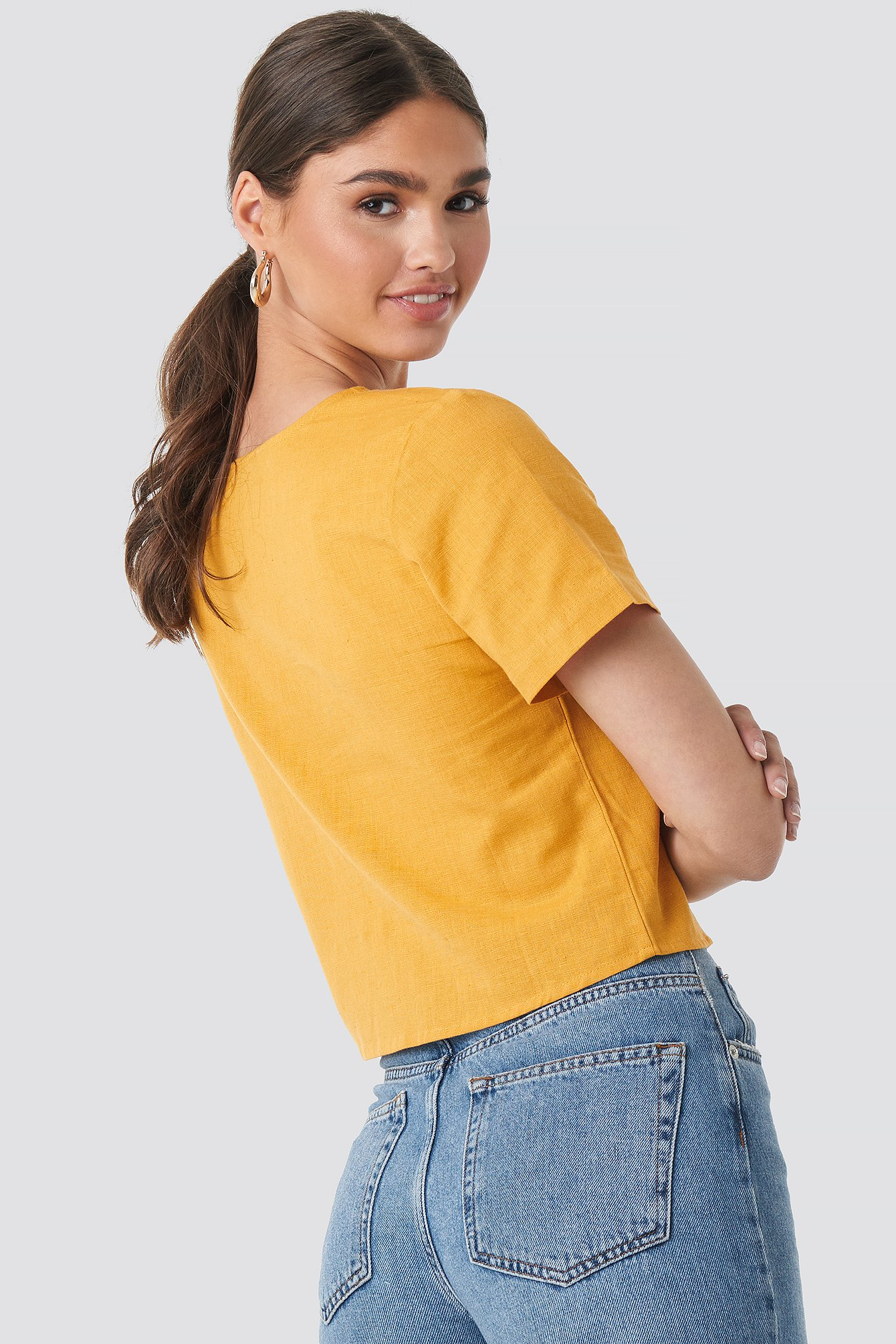 Linen Look Buttoned Top NA-KD.COM