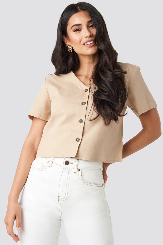 Linen Look Buttoned Top Beige
