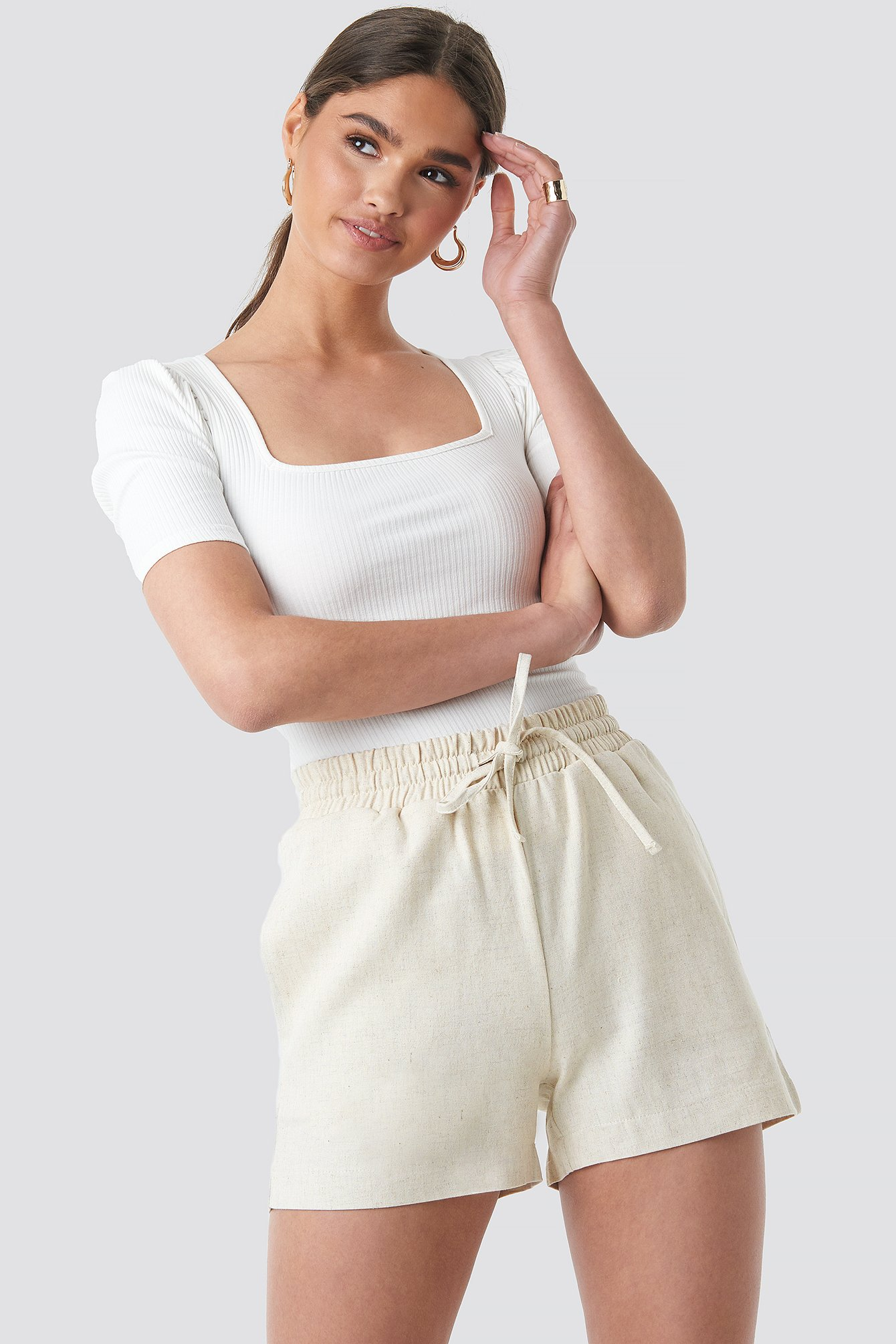 NA-KD Trend Linen Look Drawstring Shorts - Beige