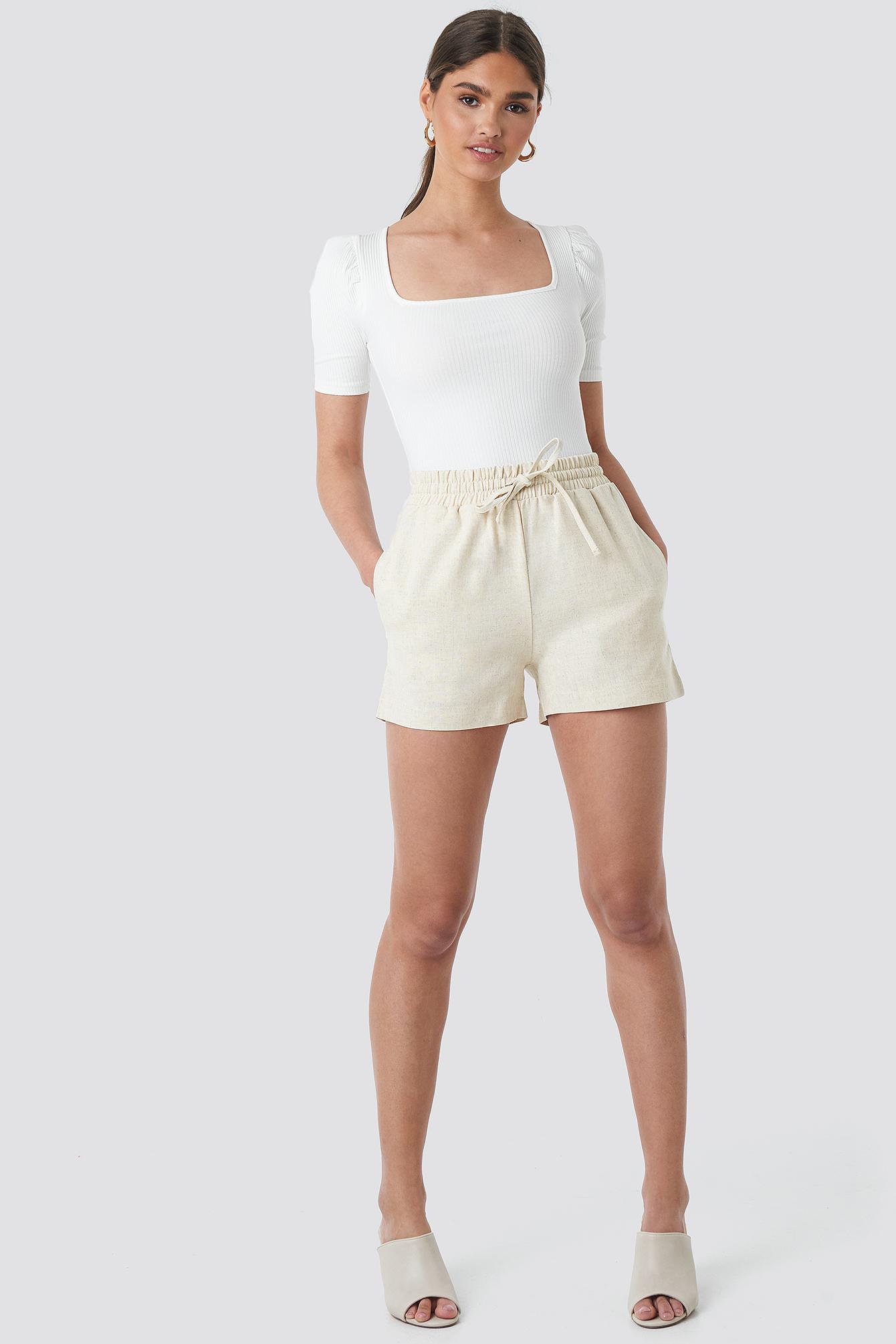 Linen Look Drawstring Shorts NA-KD.COM