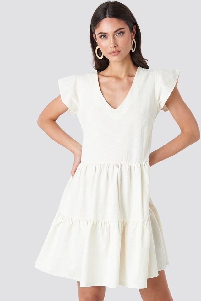 Linen Look Frill Dress Offwhite
