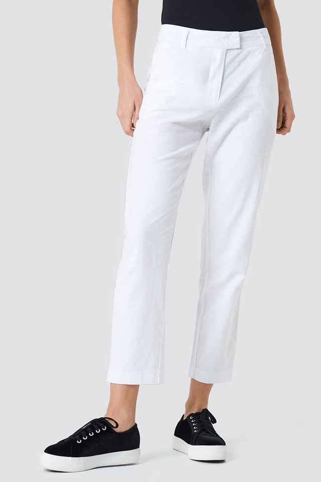 Linen Look Pants White