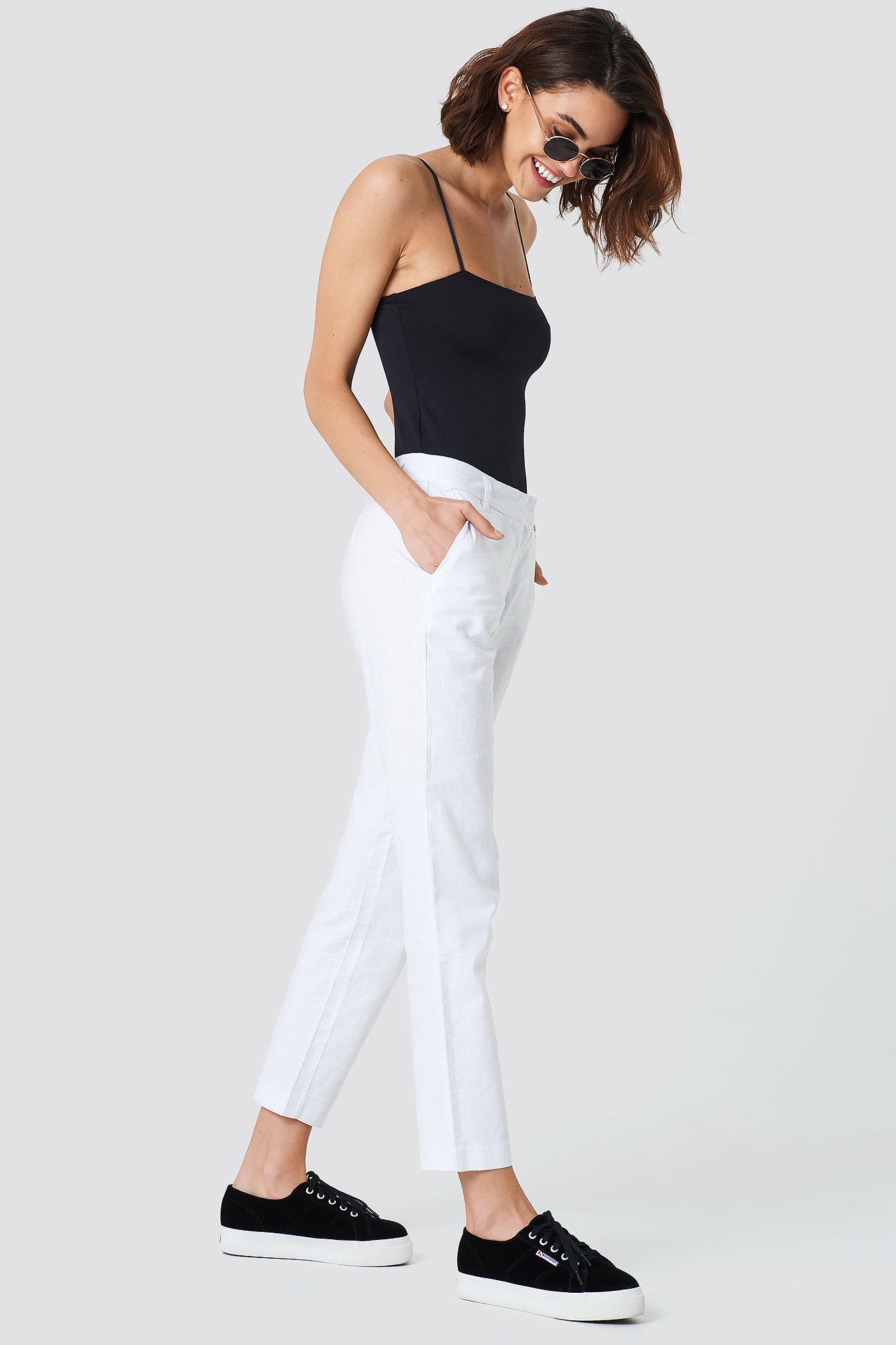 Linen Look Pants NA-KD.COM