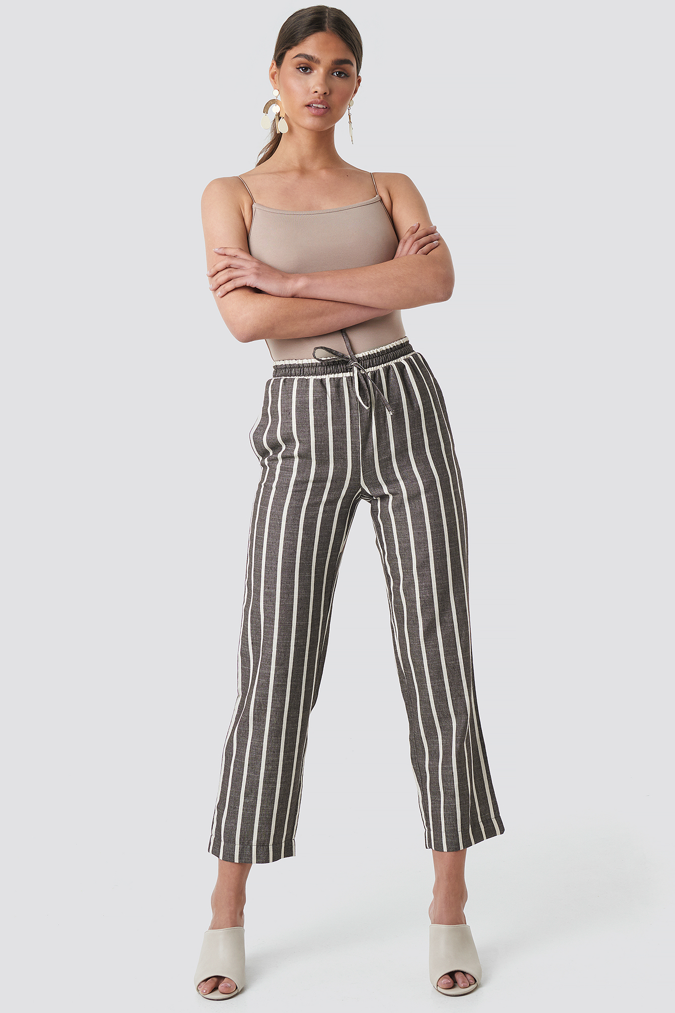 Brown Linen Look Striped Pants