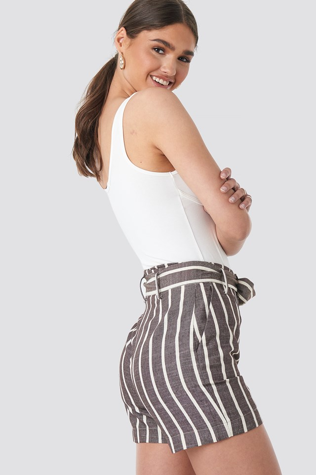 Linen Look Striped Shorts Brown