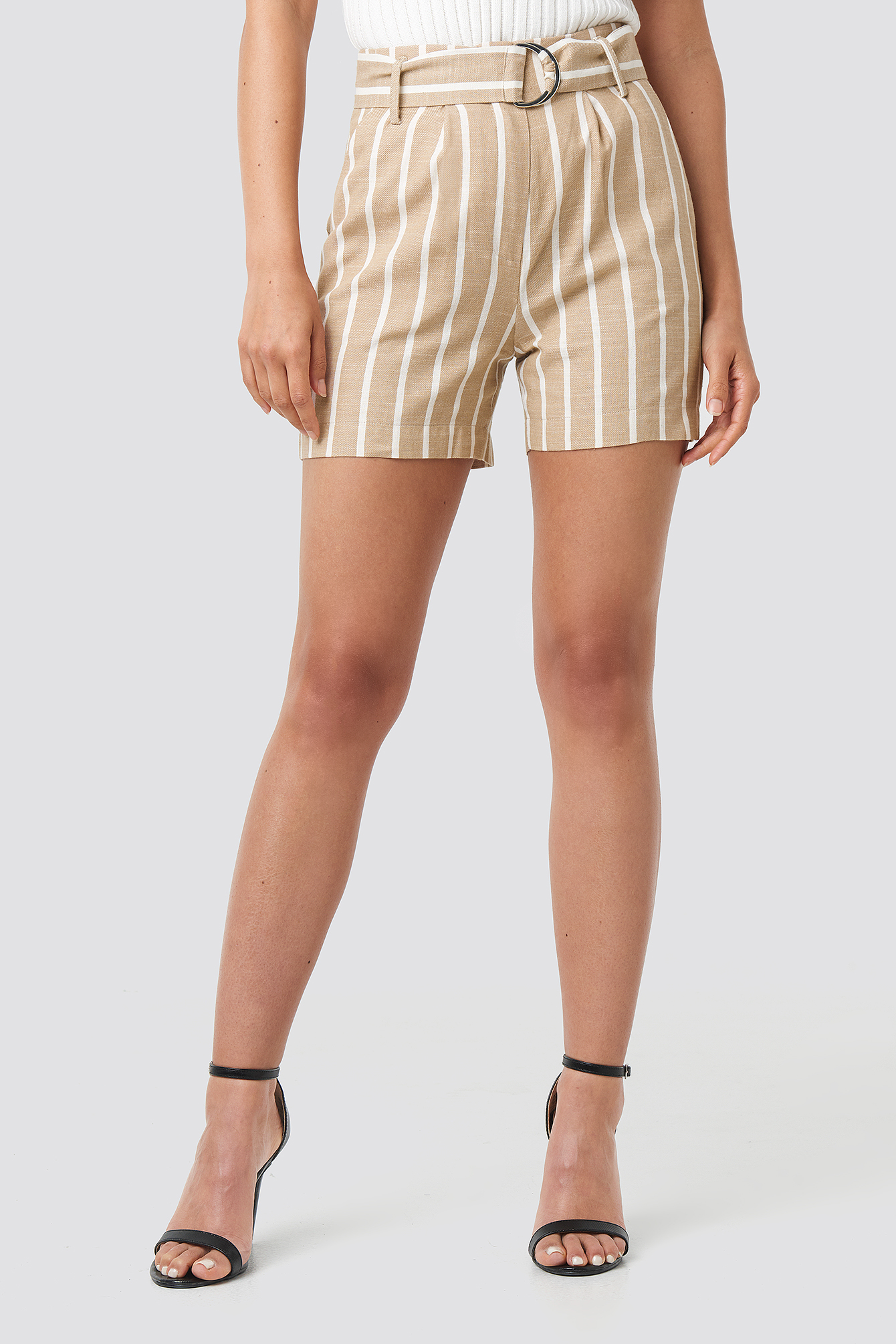 Linen Look Striped Shorts NA-KD.COM