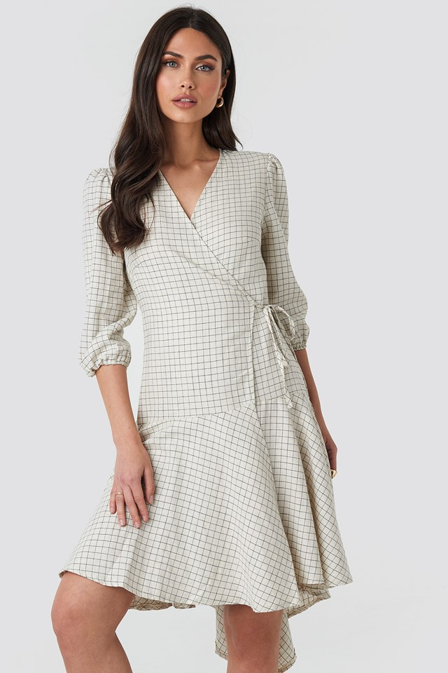 Linen Look Wrap Over Checked Dress Checked