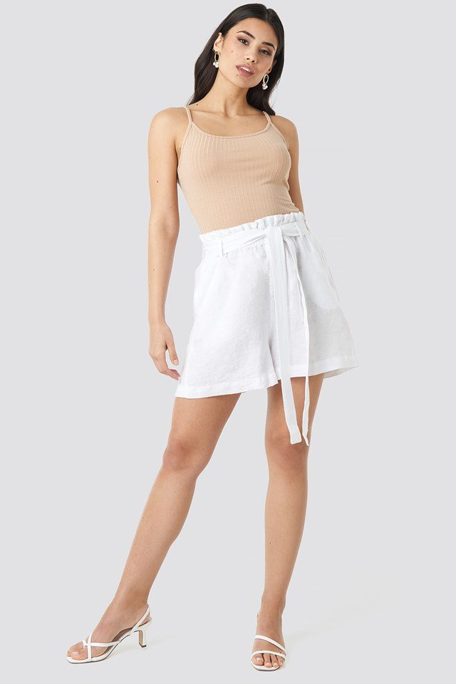 Linen Paper Bag Shorts White