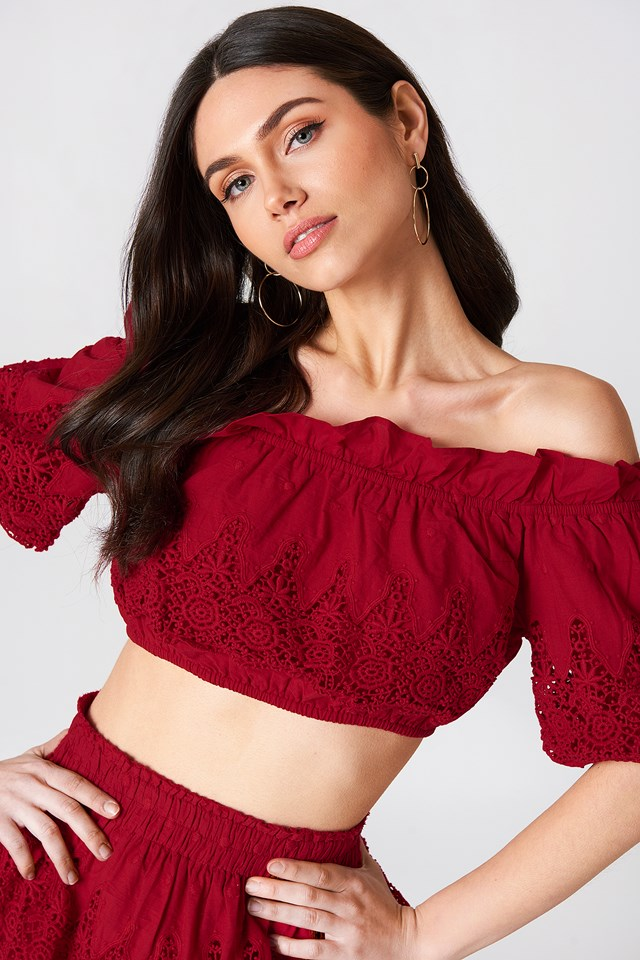Embroidery Set Top Red