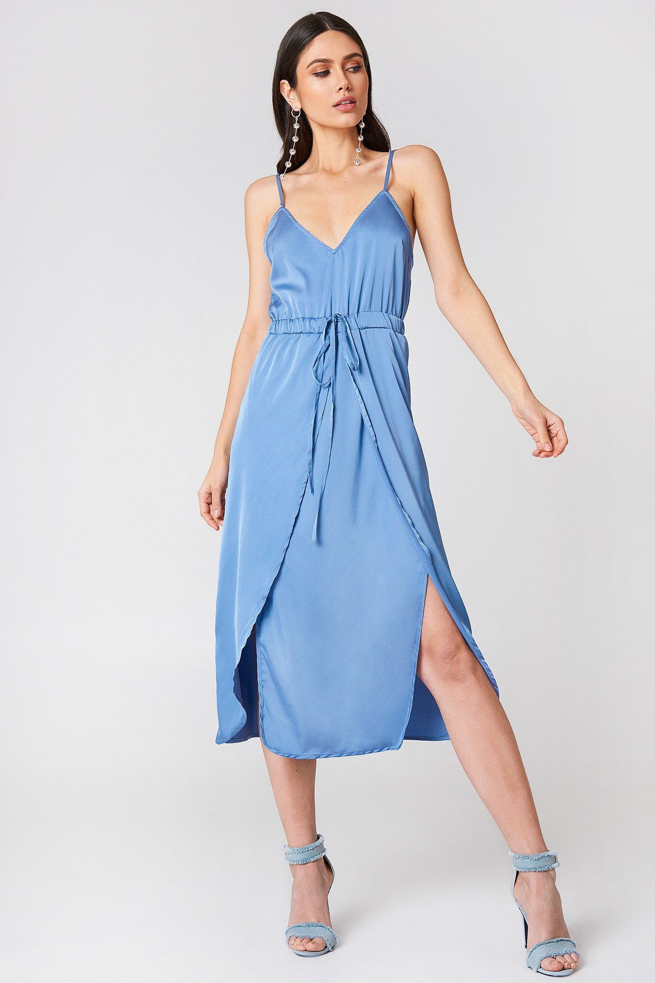 Satin Look Midi Dress NA-KD.COM