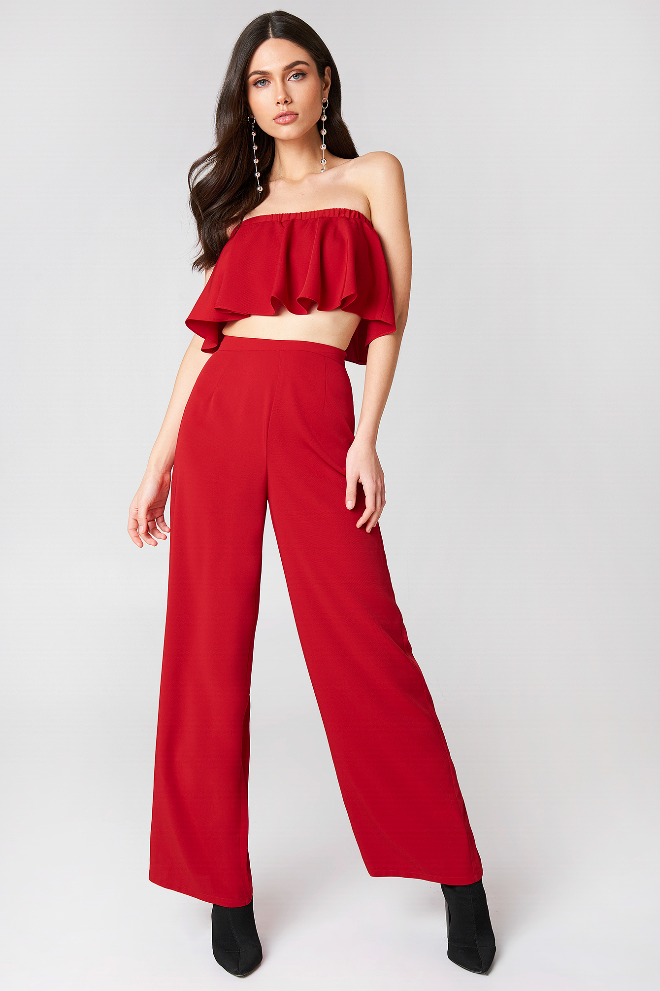 linn ahlborg x na-kd -  Solid Wide Pants - Red