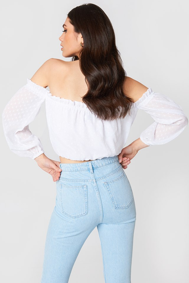 Swiss Dot Off Shoulder Top White
