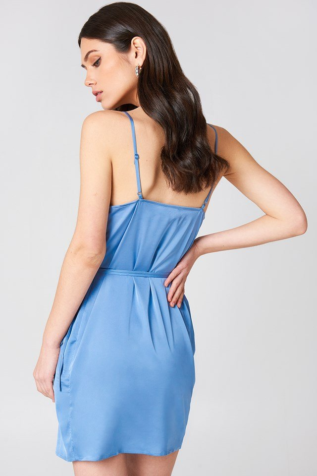 Wrapped Satin Dress Stone Blue
