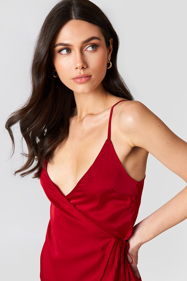 Wrapped Satin Top Red