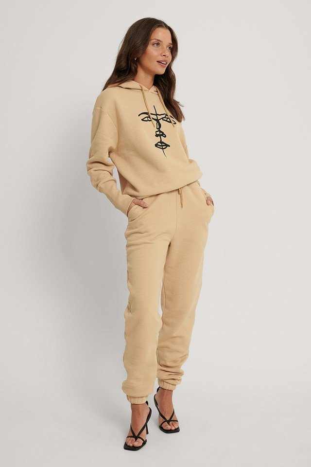 Beige Organic Drawstring Printed Sweatpants