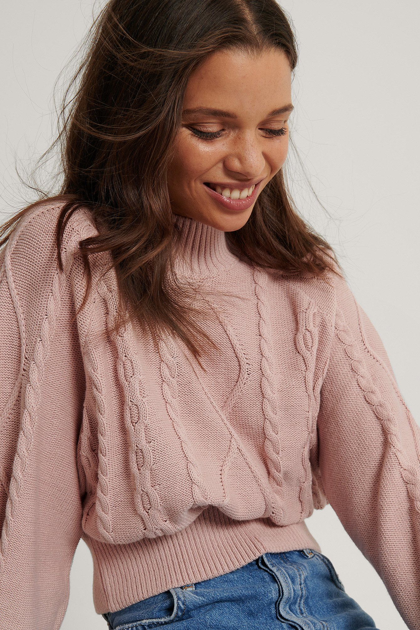 Dusty Pink Organic Volume Sleeve Knitted Sweater