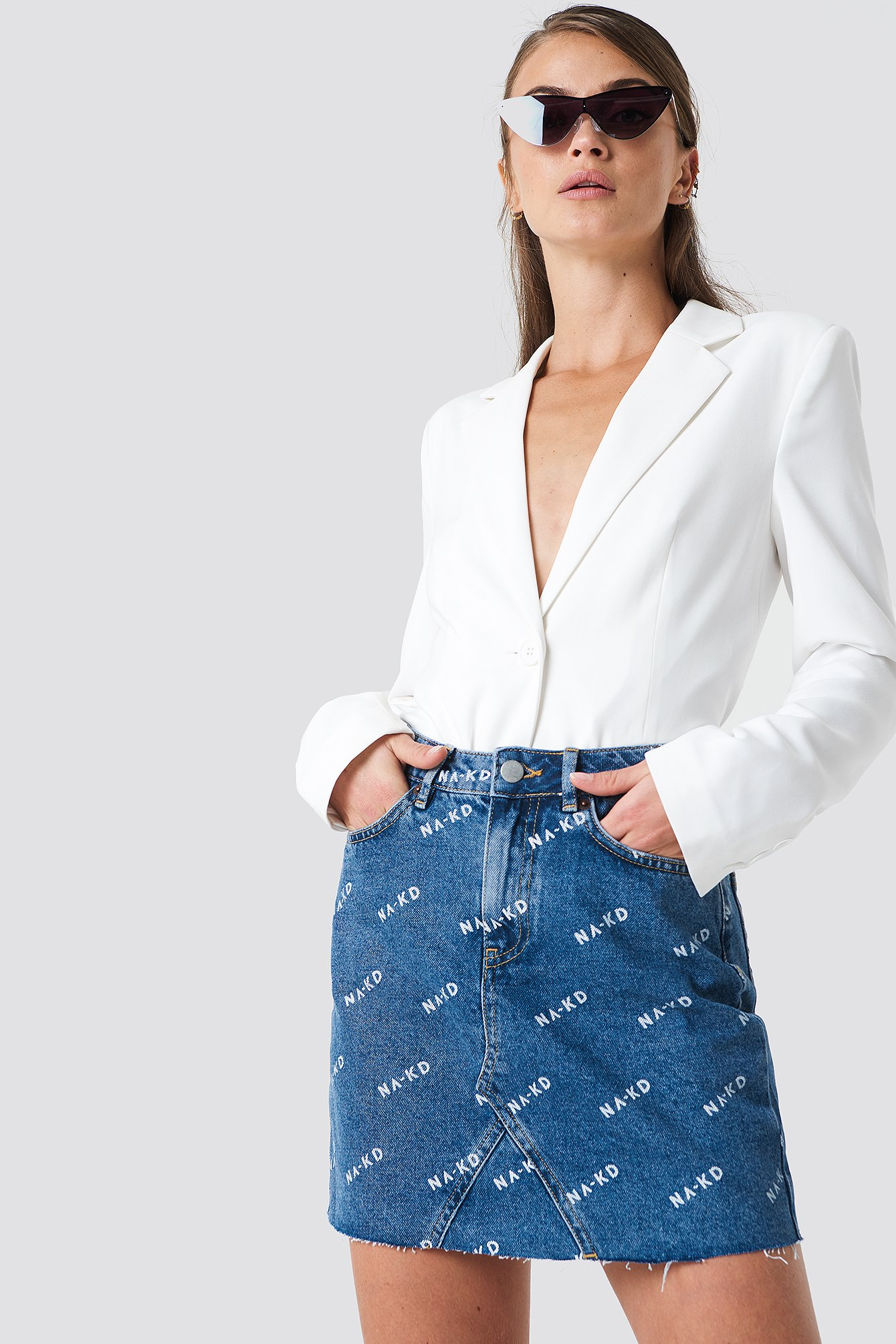 Logo Denim Skirt NA-KD.COM