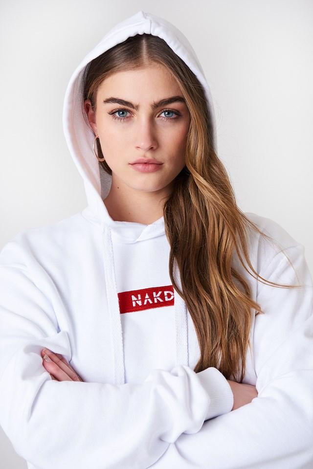NA-KD Logo Hoodie White