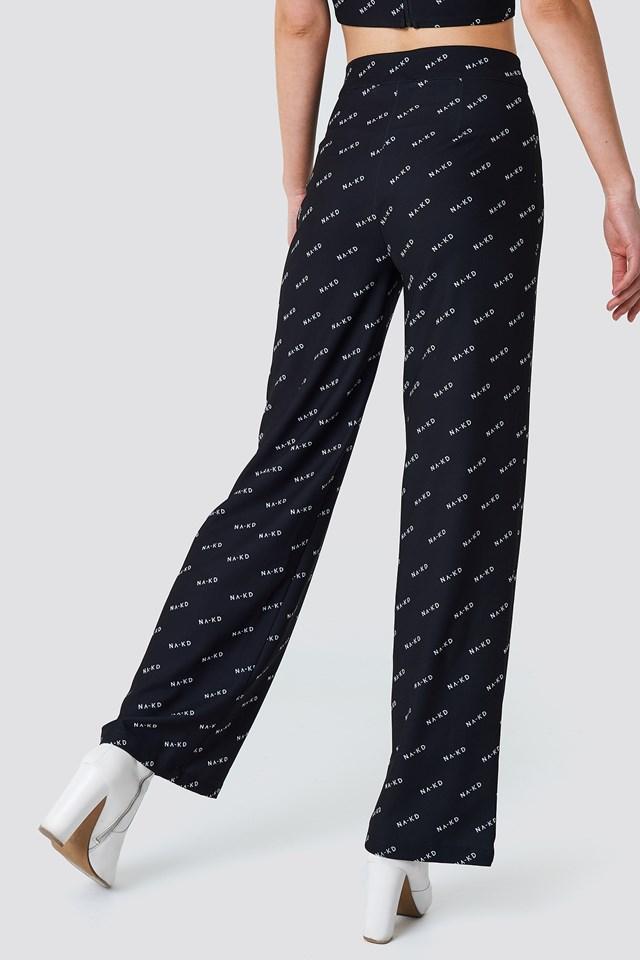 NA-KD Logo Loose Fit Pants Black