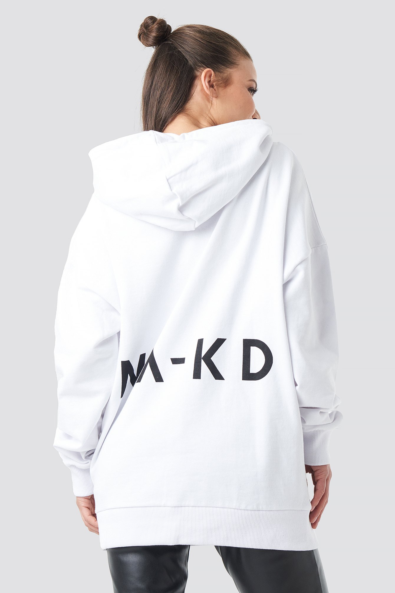 na-kd -  Logo Oversized Hoodie - White