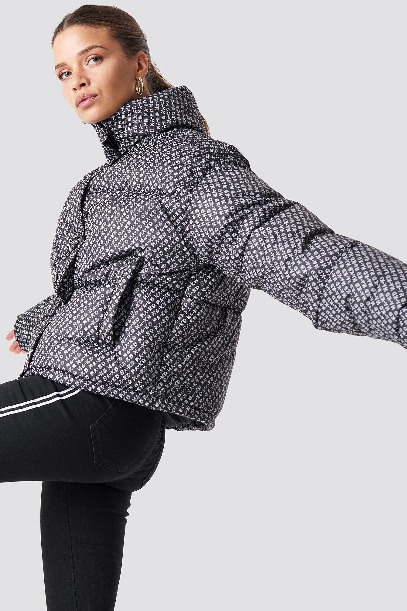 na-kd trend -  NA-KD Logo Puffer Jacket - Black