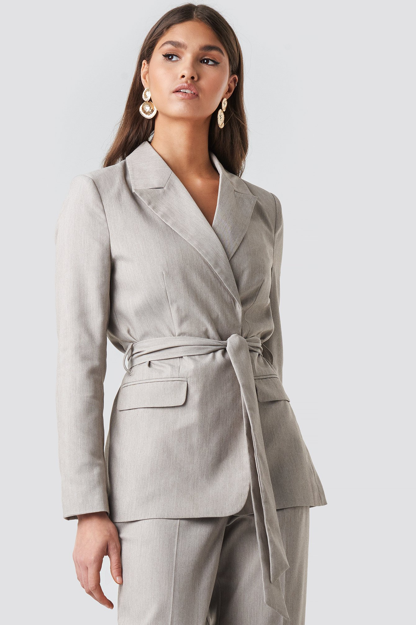 na-kd classic -  Long Belted Blazer - Grey
