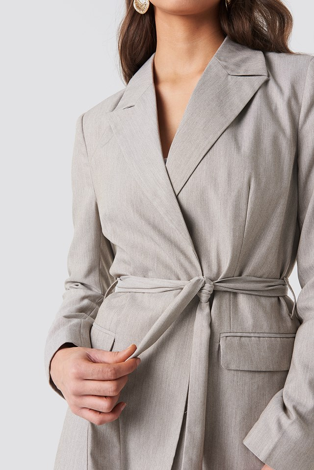 Long Belted Blazer Light Brown