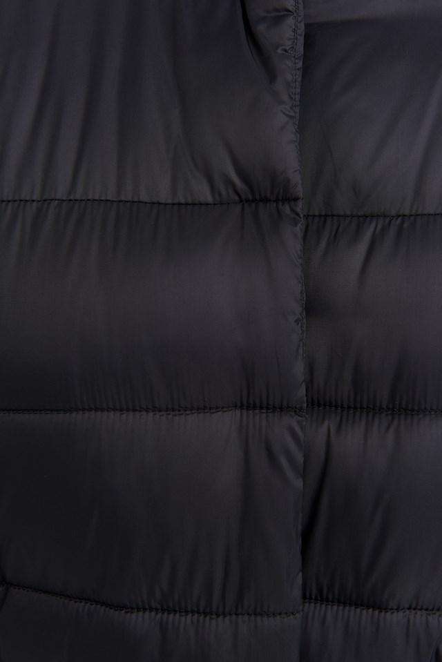 Long Belted Padded Jacket Black