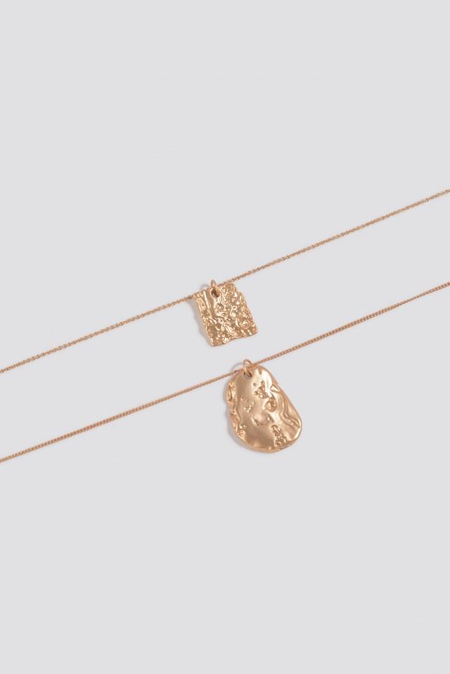 Long Double Textured Pendant Necklace Gold