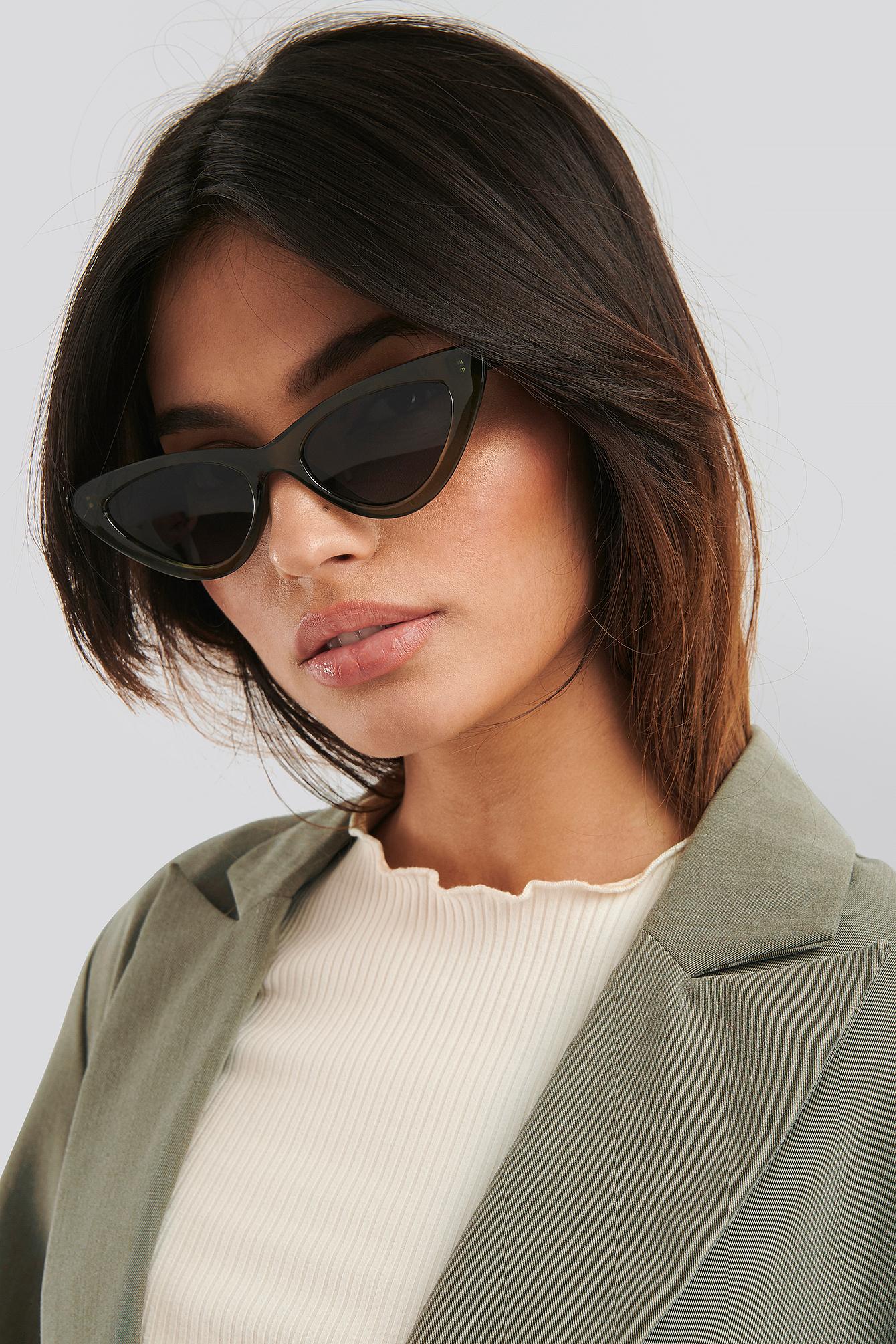 na-kd accessories -  Long Edge Cateye Sunglasses - Green
