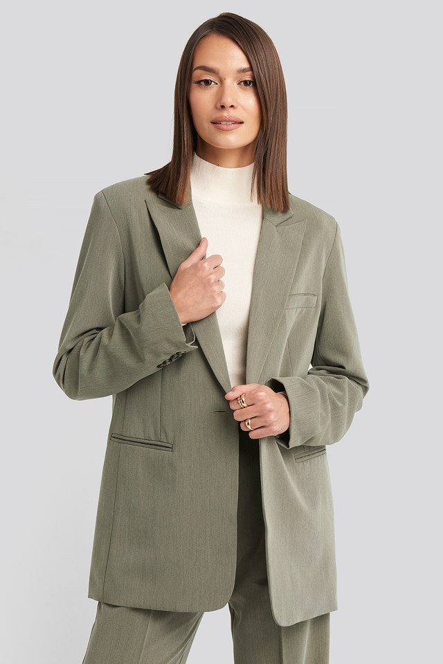 Long Fit Blazer Dusty Green Melange