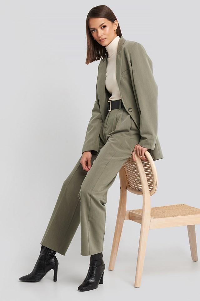 Long Fit Blazer Dusty Green Melange
