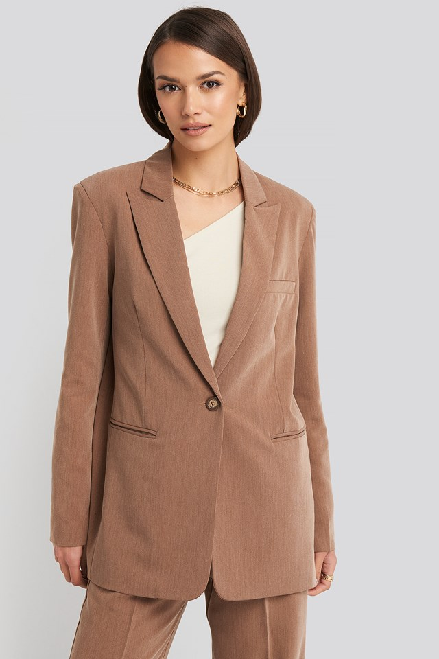 Long Fit Blazer Dark Beige Melange
