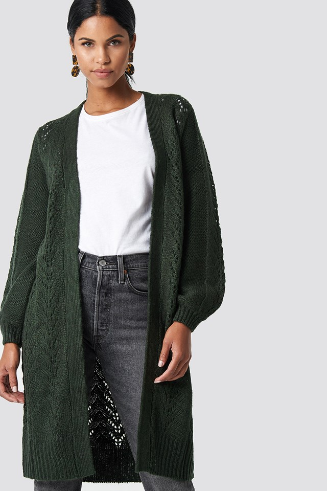 Long Knitted Cardigan Green