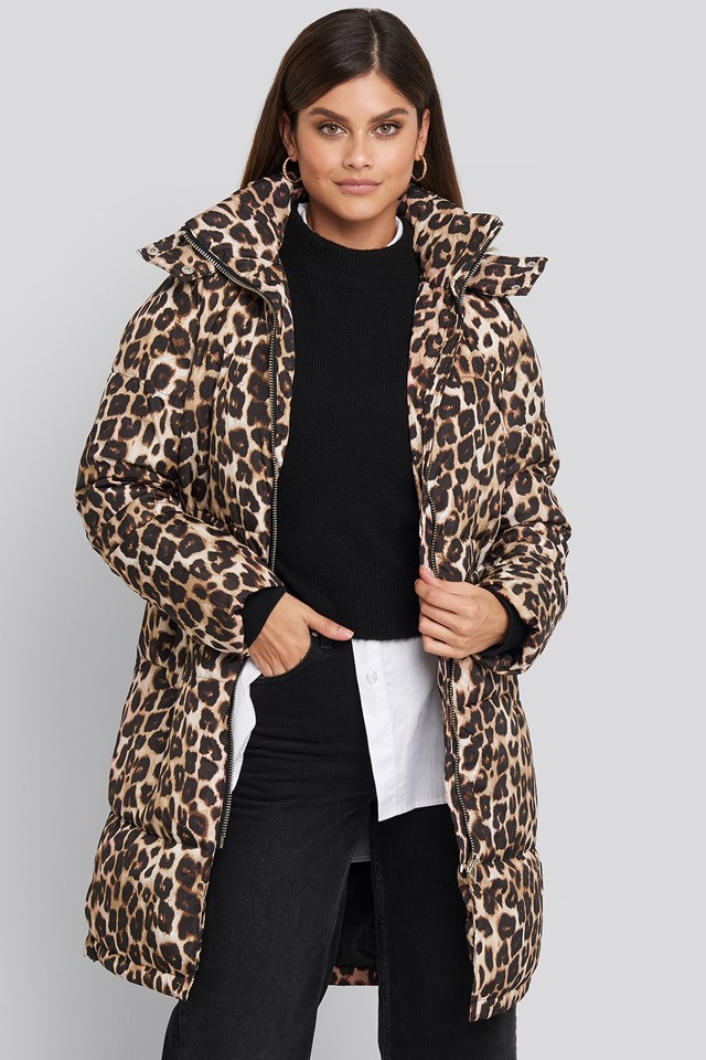 Long Leo Printed Padded Jacket Leoprint