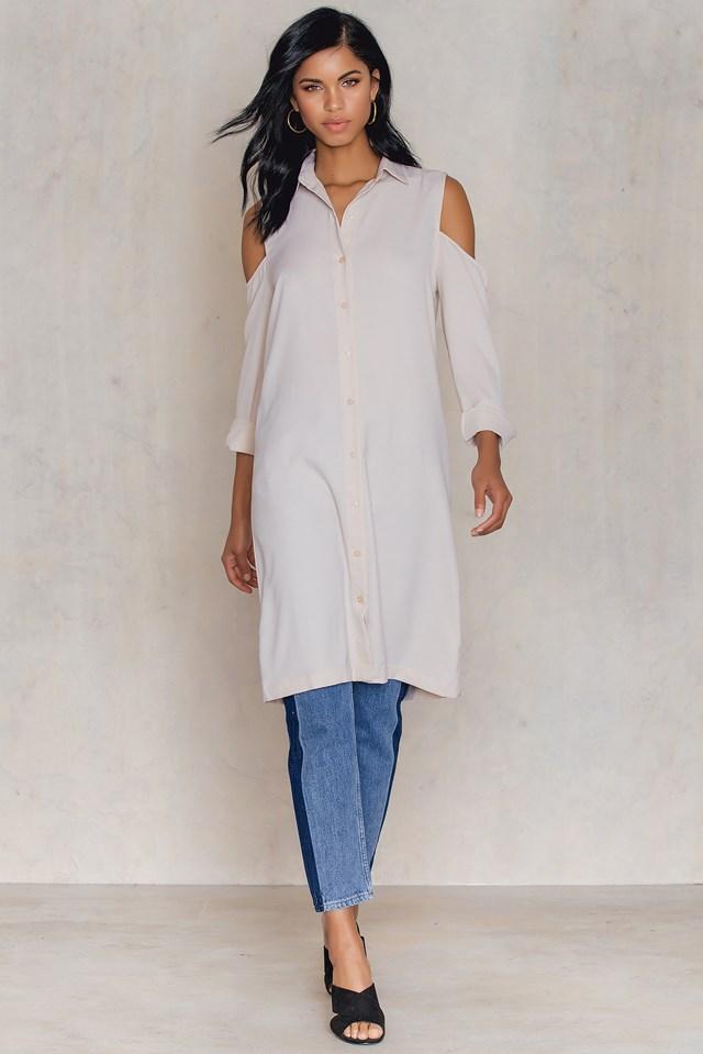 Long Line Shoulder Dress Light Beige