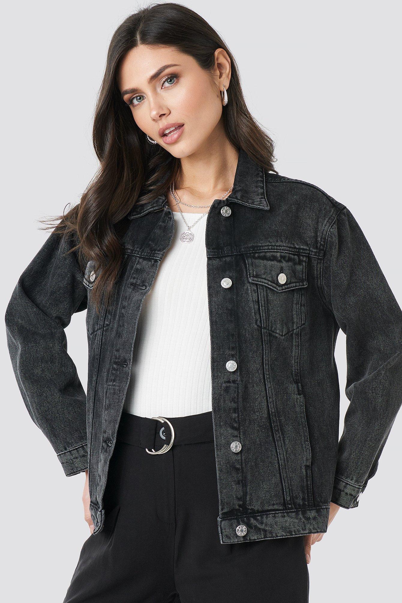 Long Oversized Denim Jacket Svart by Na Kd Trend