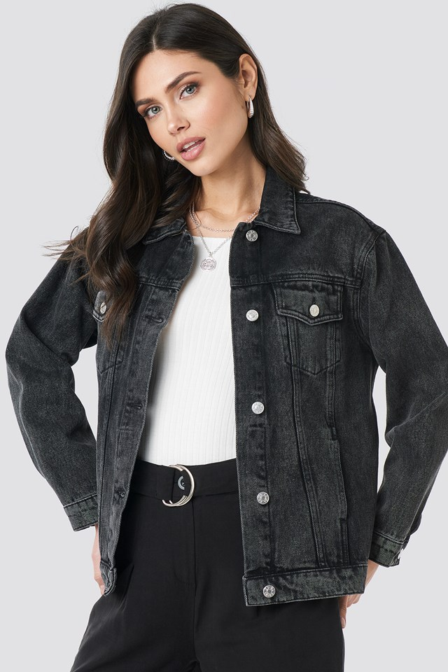 Long Oversized Denim Jacket Black